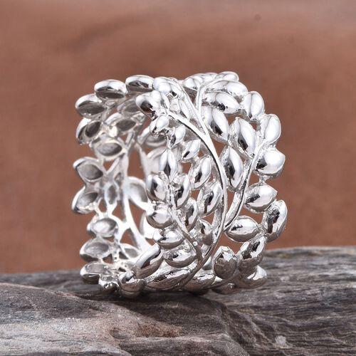 Designer Inspired Platinum Overlay Sterling Silver Olive Leaves Ring, Silver wt 5.38 Gms.
