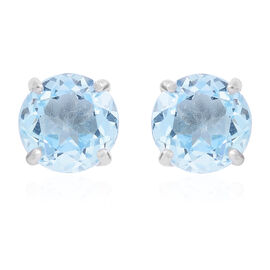 One Time Deal-Sky Blue Topaz (Rnd) Stud Earrings (with Push Back) in Rhodium Plated Sterling Silver 4.000 Ct.