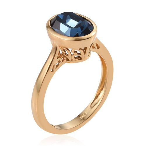 J Francis Crystal from Swarovski - Montana Crystal (Ovl) Solitaire Ring in 14K Gold Overlay Sterling Silver