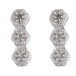 Diamond (Rnd) Earrings in Platinum Overlay Sterling Silver 0.050 Ct.