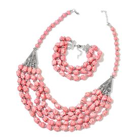 Pink Howlite Multi Strand Necklace (Size 20 with 2 inch Extender) and Bracelet (Size 7.5 with 2 inch Extender) in Silver Tone 950.00 Ct.