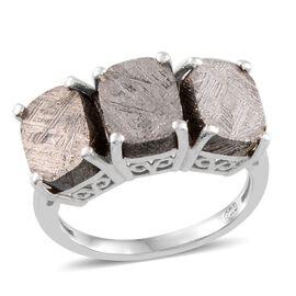 Meteorite (Cush) Trilogy Ring in Platinum Overlay Sterling Silver 16.000 Ct.