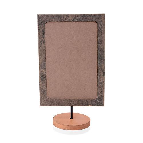 Home Decor - Table Top Orange Colour Small Wooden Chalkboard in Silver Tone (Size 6.5x11.5x3.75 inch)