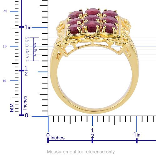 African Ruby (Ovl), White Topaz Ring in Yellow Gold Overlay Sterling Silver 6.040 Ct.