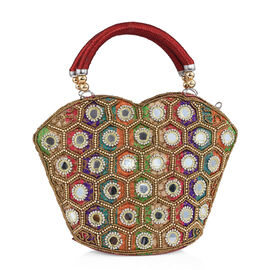 Super Auction - Limited Edition, Hand Made, Hand Set - Golden Colour Beads Embellished Rainbow Handbag (Size 22X18X7 Cm)