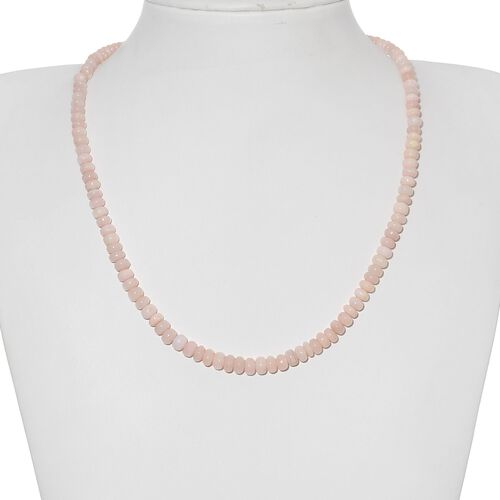 Peruvian Pink Opal (Rnd) Necklace (Size 18) in Platinum Overlay Sterling Silver 64.400 Ct.