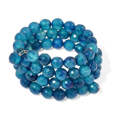 Blue Agate Multi Strand Adjustable Bracelet (Size 6 to 8.5) in Stainless Steel 215.000 Ct.