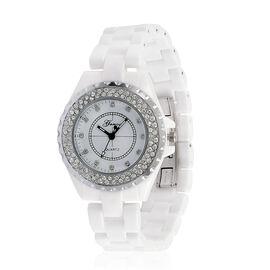 GENOA AAA Austrian Crystal White Ceramic Strap Watch - Silver Tone