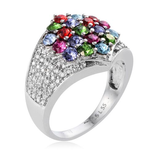 J Francis Crystal from Swarovski - Light Siam Crystal (Rnd), Fern Green Crystal, Tanzanite Colour Crystal Ring in ION Plated Stainless Steel