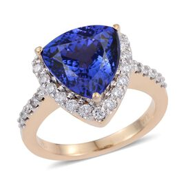 ILIANA 18K Yellow Gold 6.25 Carat AAA Tanzanite Trillion Halo Ring, Diamond SI G-H.
