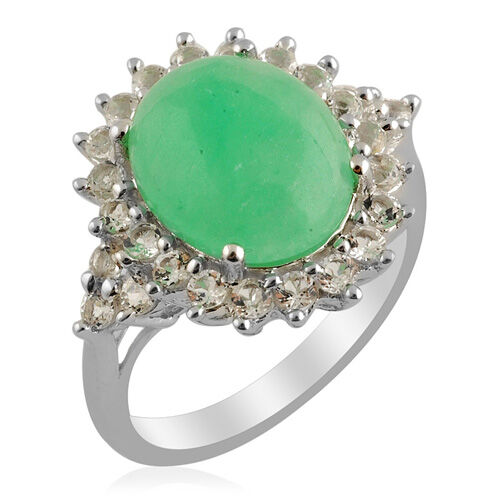 Enhanced Green Jade (Ovl 5.00 Ct) White Topaz Ring in Sterling Silver  6.050 Ct.