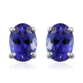 RHAPSODY 950 Platinum AAAA Tanzanite (Ovl) Stud Earrings (with Screw Back) 2.250 Ct.