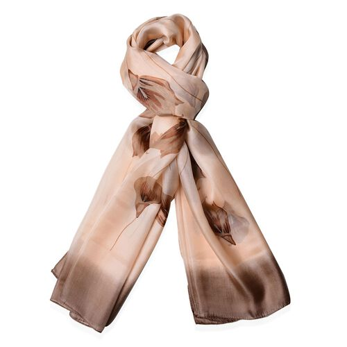 100% Mulberry Silk Calla Lily Pattern Coffee Colour Scarf (Size 170x110 Cm)