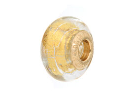 Close Out Deal 9K Y Gold Yellow Colour Murano Glass Bead Charm