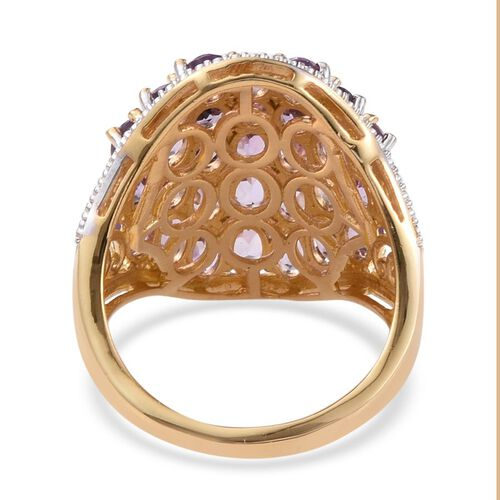Amethyst (Ovl) Cluster Ring in 14K Gold Overlay Sterling Silver 6.000 Ct.