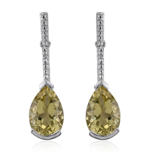 Natural Ouro Verde Quartz (Pear), Diamond Earrings (with Push Back) in Platinum Overlay Sterling Silver 6.260 Ct.