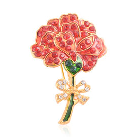 Stunning Bright Multi Colour Austrian Crystal Floral Enameled Brooch in Gold Tone