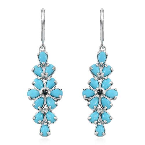 Arizona Sleeping Beauty Turquoise (Pear), Diamond Lever Back Earrings in Platinum Overlay Sterling Silver 4.530 Ct.