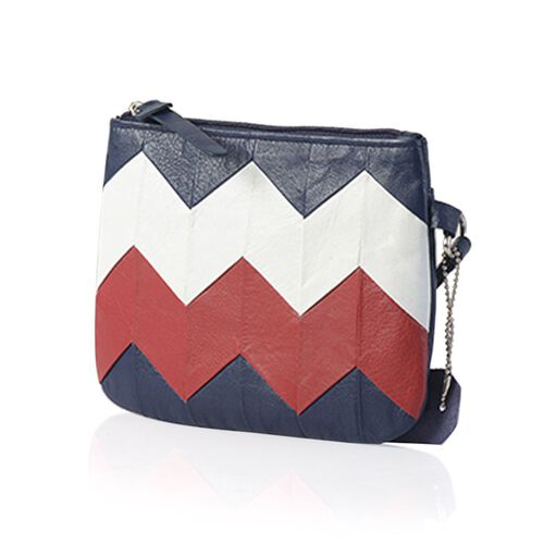 Genuine Leather Zig Zag Pattern Dark Blue, White and Red Colour Pouch (Size 18.5x13.5 Cm)