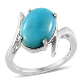 Arizona Sleeping Beauty Turquoise (Ovl) Solitaire Ring in Platinum Overlay Sterling Silver 4.000 Ct.