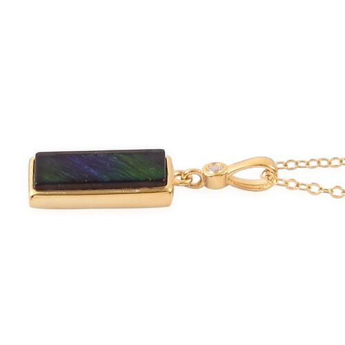 Canadian Ammolite (Bgt) Solitaire Pendant With Chain in Yellow Gold Overlay Sterling Silver 1.750 Ct.