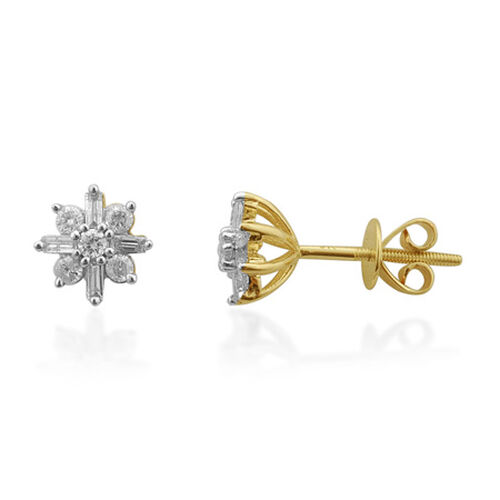 Snowflake Diamond 9K Yellow Gold Earring 0.500 Ct.