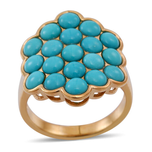 Arizona Sleeping Beauty Turquoise (Rnd) Cluster Ring in 14K Gold Overlay Sterling Silver 3.500 Ct.