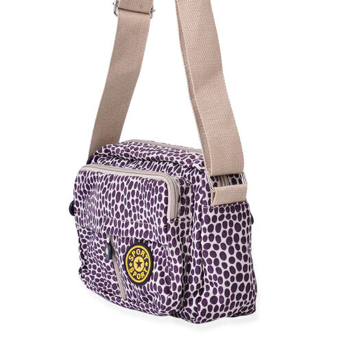 Polka Dots Pattern Waterproof Sport Bag with External Zipper Pocket and Adjustable and Removable Shoulder Strap (Size 21.5x17x7 Cm)