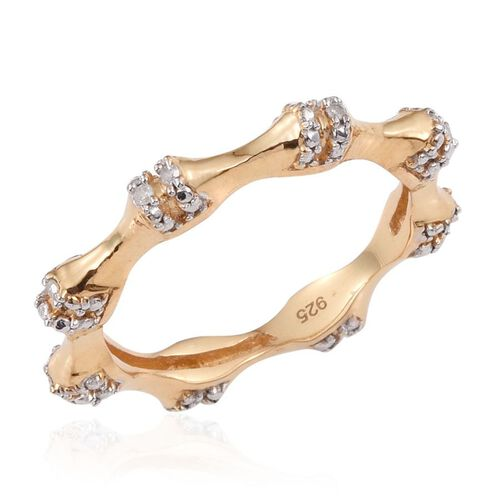 Diamond (Rnd) Stackable Bamboo Ring in 14K Gold Overlay Sterling Silver 0.050 Ct.