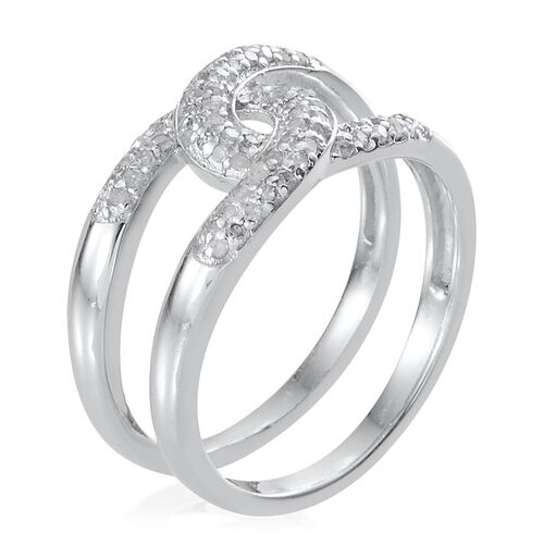 Diamond (Rnd) Interlocking Ring in Platinum Overlay Sterling Silver 0.330 Ct.