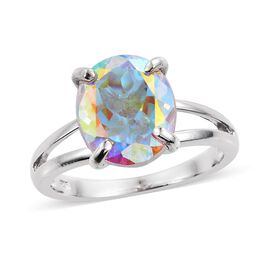 Mercury Mystic Topaz (Ovl) Solitaire Ring in Platinum Overlay Sterling Silver 5.750 Ct.