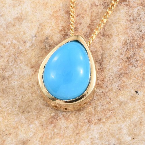 Arizona Sleeping Beauty Turquoise (Pear) Solitaire Pendant With Chain in 14K Gold Overlay Sterling Silver 0.750 Ct.