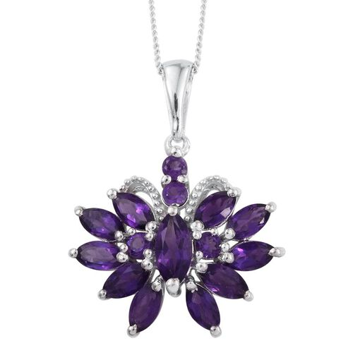 Amethyst (Mrq) Pendant With Chain in Platinum Overlay Sterling Silver 2.750 Ct.