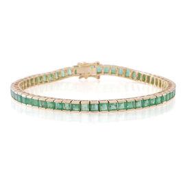 Limited Edition 9K Y Gold AAA Princess Cut Kagem Zambian Emerald Tennis Bracelet (Size 7.5) 10.000 Ct.