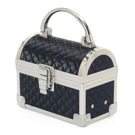 Black Colour Jewellery Box in Silver Tone with Mirror Inside (Size 13x7.4x10 Cm)