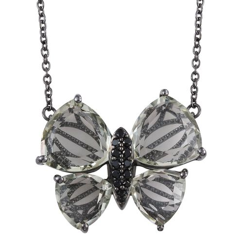 GP Green Amethyst (Trl), Boi Ploi Black Spinel and Kanchanaburi Blue Sapphire Butterfly Pendant With Chain in Black Rhodium Plated Sterling Silver 13.000 Ct.
