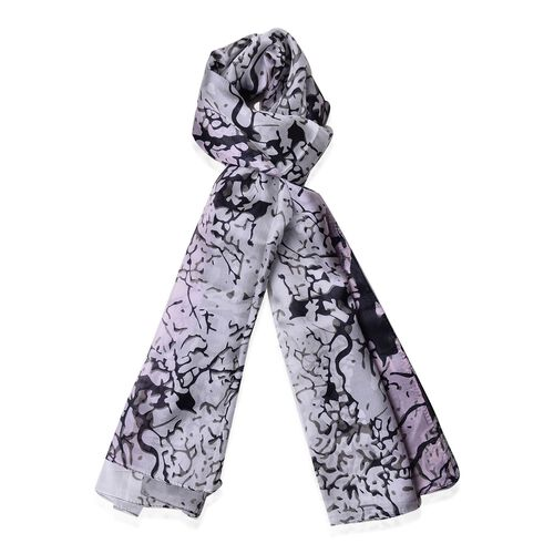 100% Mulberry Silk Grove Pattern White, Pink and Black Colour Scarf (Size 170x110 Cm)