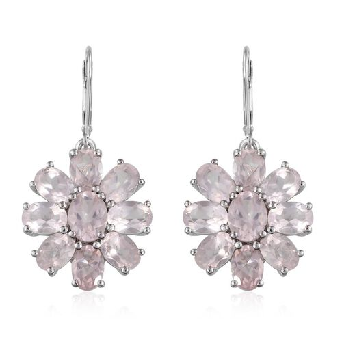 Rose Quartz (Ovl) Floral Lever Back Earrings in Platinum Overlay Sterling Silver 13.750 Ct.