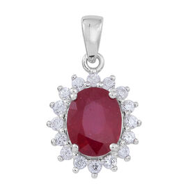 African Ruby (Ovl 3.75 Ct), White Zircon Pendant in Rhodium Plated Sterling Silver 5.000 Ct.