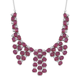 African Ruby (Ovl), White Zircon Necklace (Size 18) in Rhodium Plated Sterling Silver 70.000 Ct.