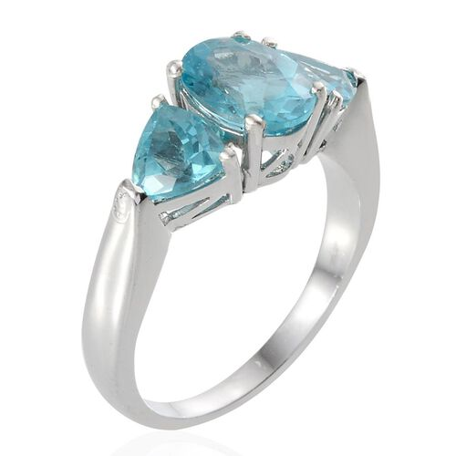 Paraibe Apatite (Ovl 1.75 Ct) Ring in Platinum Overlay Sterling Silver 3.25 Ct.