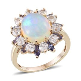 9K Y Gold Ethiopian Welo Opal (Ovl 2.50 Ct), Tanzanite and Natural Cambodian Zircon Ring 5.750 Ct.