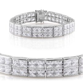 J Francis - Platinum Overlay Sterling Silver (Sqr) Bracelet Made with SWAROVSKI ZIRCONIA (Size 8) 53.960 Ct.