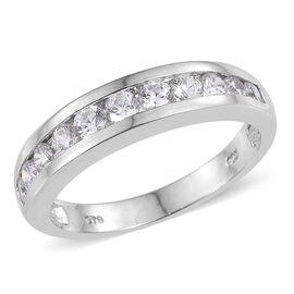 J Francis - Platinum Overlay Sterling Silver (Rnd) Half Eternity Band Ring Made with SWAROVSKI ZIRCONIA