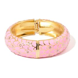 AAA White Austrian Crystal Pink Enameled Bangle (Size 7.5) in Gold Tone