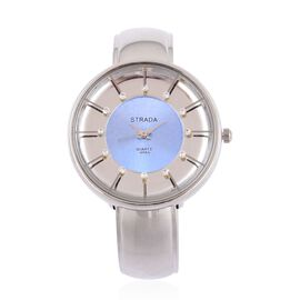 Designer Inspired STRADA AAA Austrian Crystal Studded Watch in Silver Tone with Blue Face with Gift Packing Box
