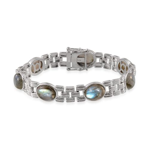 Labradorite (Ovl) Bracelet (Size 7.5) in Platinum Overlay Sterling Silver 27.500 Ct.