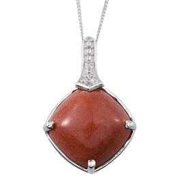 Red Jade (Cush 11.25 Ct), Diamond Pendant With Chain (Size 18) in Platinum Overlay Sterling Silver 11.270 Ct.