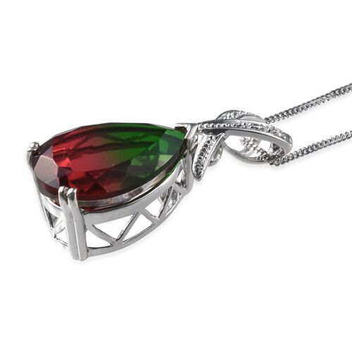 Tourmaline Colour Quartz (Pear 10.00 Ct), Diamond Pendant With Chain in Platinum Overlay Sterling Silver 10.020 Ct.