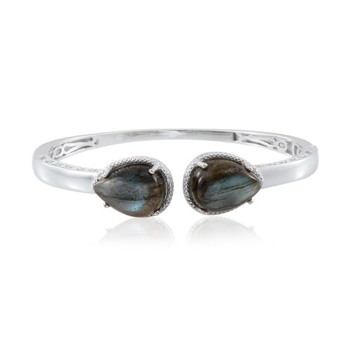 Labradorite (Pear), Diamond Bangle (Size 7.5) in Platinum Overlay Sterling Silver 22.500 Ct.